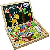 Fajiabao Educativi Giocattolo Magnetica Lavagnetta Puzzle di Legno Doppio Lato Gioco per Bambini 3 Anni, Stile Casuale