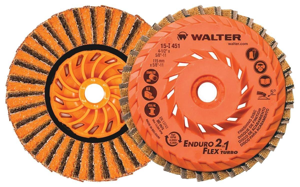 Walter 15I451 ENDURO-FLEX 2-in-1 Turbo Abrasive Flap Disc [pack of 10] – Type 27, Ceramic Blend, 4-1/2 in. Finishing Disc for Steel, Stainless Steel, Aluminum, Copper Alloys