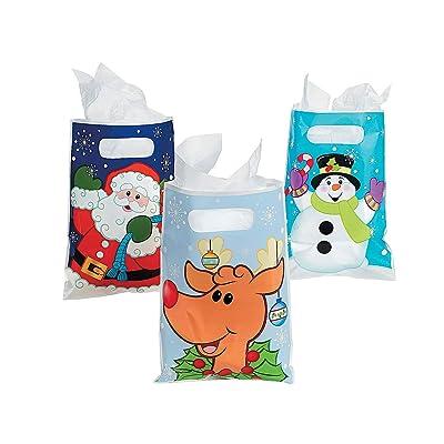 Fun Express - Asstd Christmas Party Favor Bags for Christmas - Party Supplies - Bags - Plastic Bags - Christmas - 36 Pieces: Toys & Games