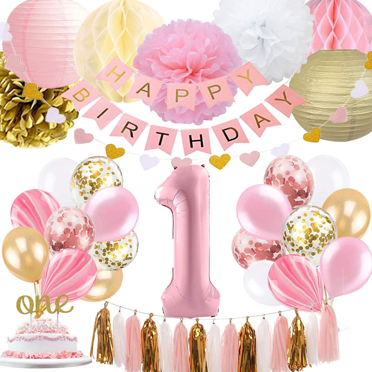 1st Birthday Girl Decoration, Baby Girls First Birthday Decoration with Happy Birthday Banner, Number 1 Birthday Balloons for Pink and Gold Party Supplies Decoration 1st Birthday
