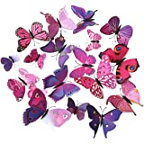 ElecMotive 24 Pcs 2 Packs Beautiful 3D Butterfly Wall Decals DIY Home Decorations Art Decor Wall Stickers & Murals for…