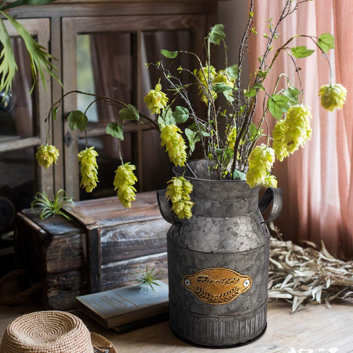 Vintage Farmhouse Jug Vase Milk Can Pitcher Galvanized Metal Rustic Vase Holder For Home Decor Topnew Shabby Chic Flower Vase Home Kitchen Vases