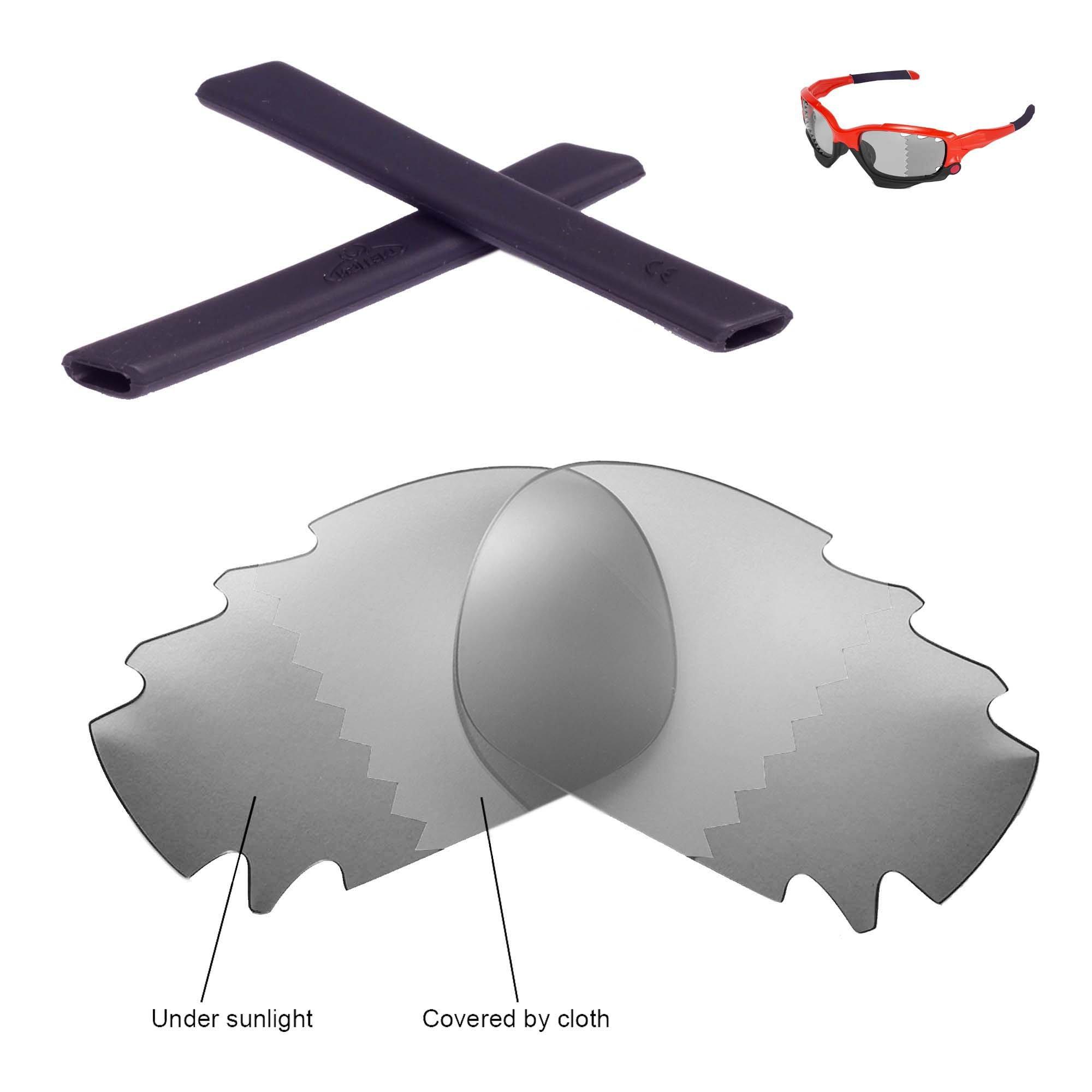 Walleva Vented Lenses and Rubber Kit(Earsocks) for Oakley Jawbone - 11 Options Available (Transition Polarized Lenses + Black Rubber)