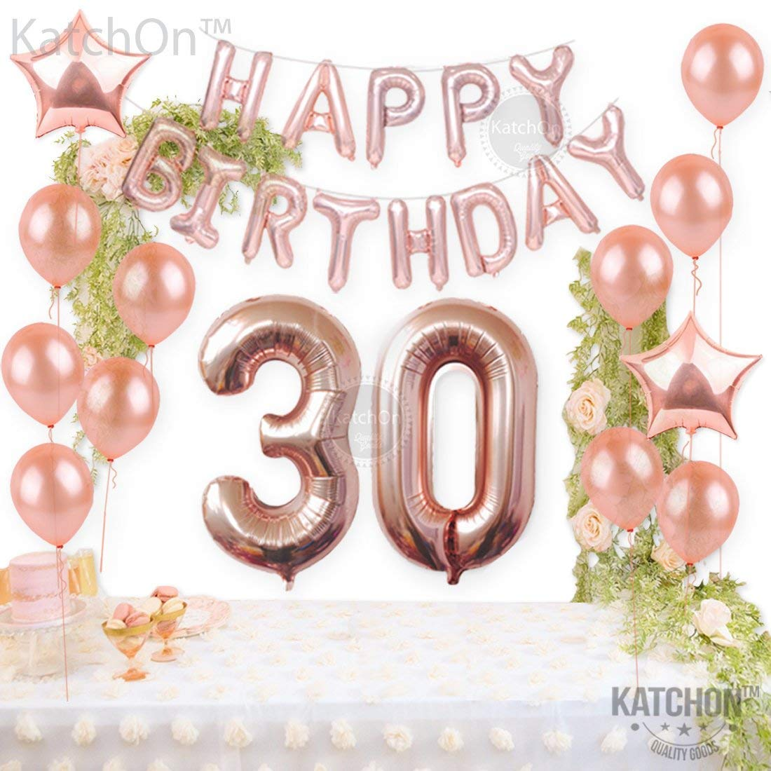30th Birthday Decorations Rose Gold AEUR 30 And Happy Balloons Banner Great For Party Supplies