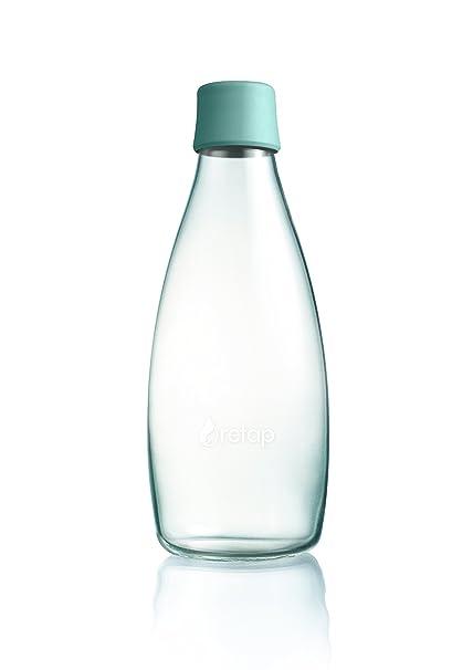 Retap Botella de Agua Cristal de borosilicato, Menta Azul, 0,8 L/