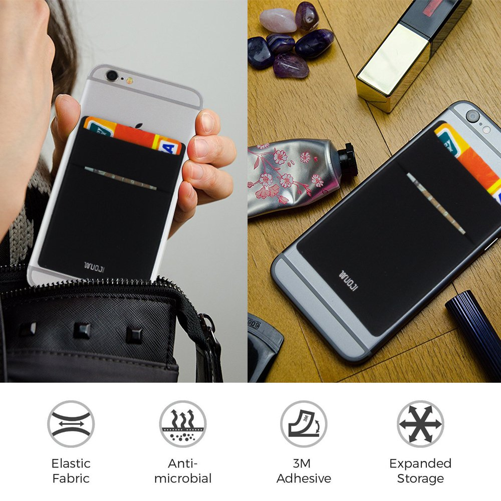 [2pc]RFID Blocking Phone Card Wallet - Double Secure Pocket - Ultra-slim Self Adhesive Credit Card Holder Card Sleeves Phone wallet sticker For All Smartphones(Black2) by WuoJI (Image #10)