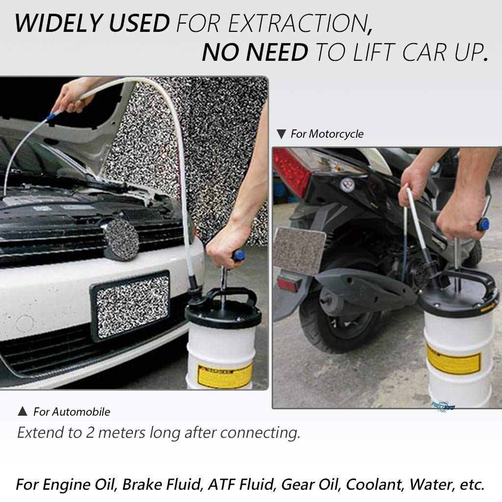 FIRSTINFO 2nd Generation Manual 6.5 Liter Auto Engine Oil//Fluid//Oil Changer Vacuum Extractor//Pump Comes with Hoses Storage Dust Cover