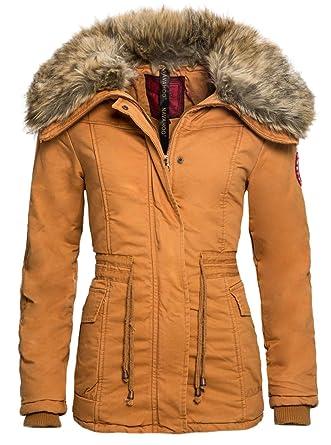 73d7a83aec5f6b Navahoo Designer Winter Jacke Mantel Warmer gefütterter Parka Fellkragen  B309 [B309-Dana-Beige