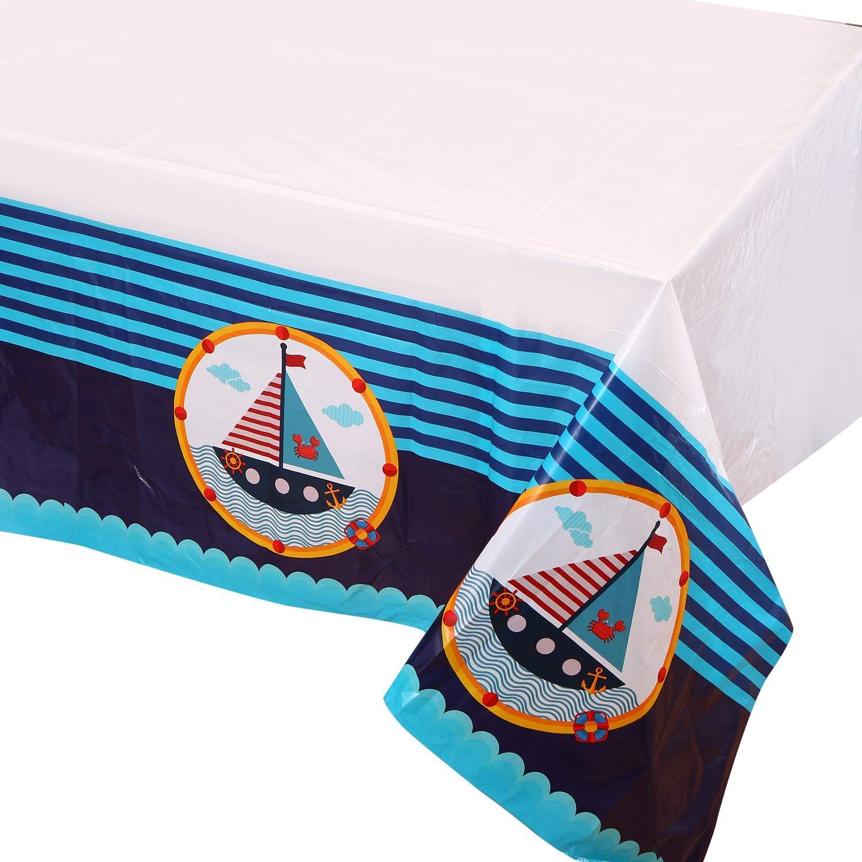Amazon.com: Ahoy - Mantel de plástico náutico para fiesta de ...