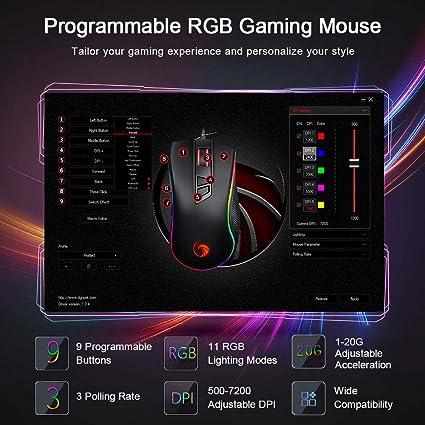 NPET - Ratón para juegos, 3500 ppp, profesional, 6 botones, USB con cable, RGB, retroiluminado, recargable para PC