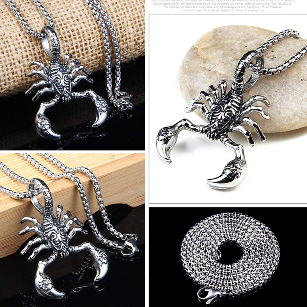 LIUFENGLONG Punk Necklace Pendant Mens 316L Stainless Vintage Oxidized Scorpion Pendant Gothic Stainless Steel Pendant Necklace Silver Black Very Nice Gift Great Gift for Anyone