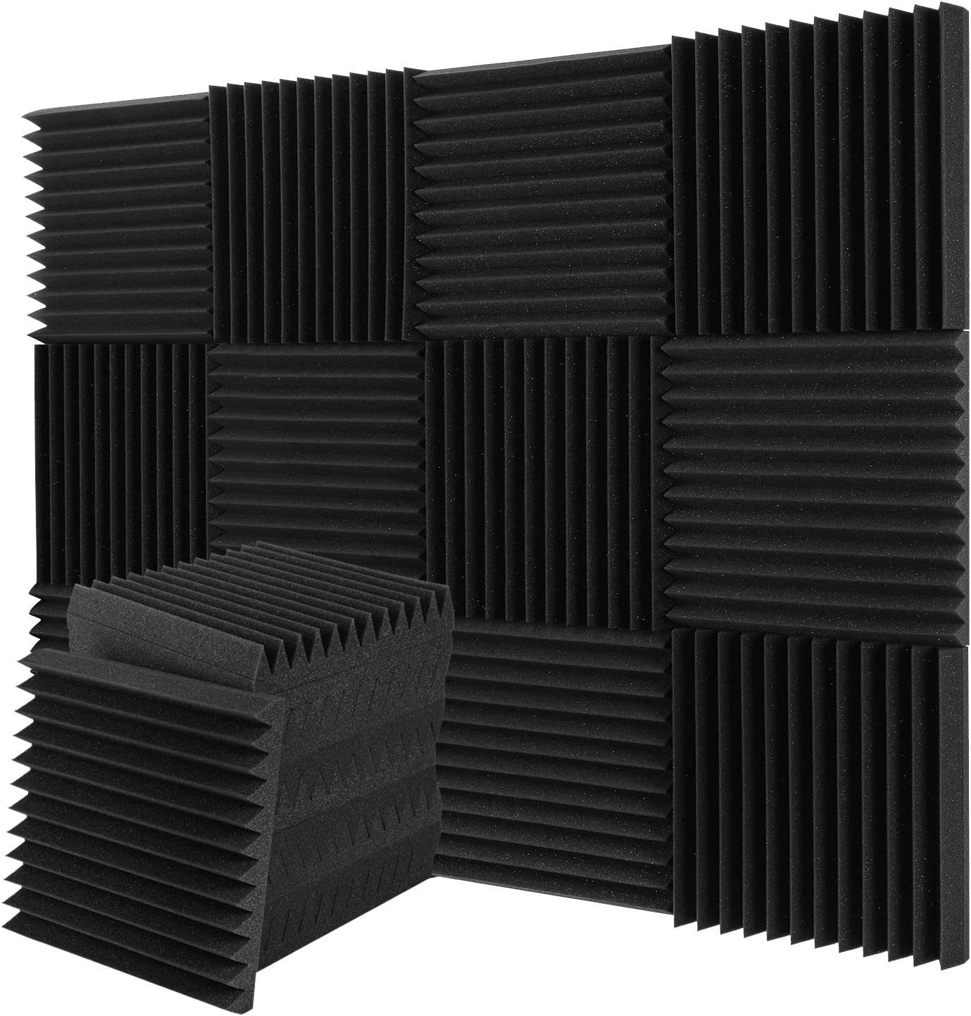 Donner Espuma Acústica, 12 Planchas, Aislante Acústico, Paneles Acústicos para Estudios, Estudios de Grabación, Oficinas, Sala Acústica, Insonorizacion acustica pared, 30 * 30 * 5CM