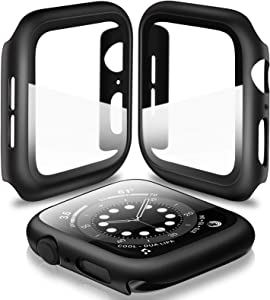 [2 Pack] Deilin Hard PC Case with Tempered Glass Screen Protector Compatible with Apple Watch Series 6/5/4/SE 44mm, Case for All Around Coverage Protective Bumpers Cover for iWatch Series 6/5/4/ 44mm