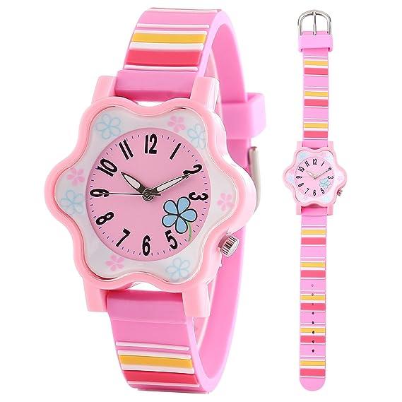 clooker niña reloj jóvenes adolescentes niños niños relojes de cuarzo banda de silicona de flores de