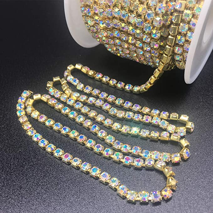 10 Yards Crystal Rhinestone Close Chain Trim Sewing Craft DIY Decorative Cup Chain with Crystal Silver Clear, 2.7mm