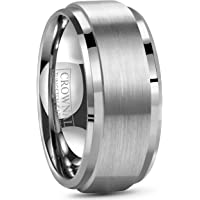 6mm 8mm 10mm Tungsten Wedding Band Ring Men Women Polished Beveled Edge Matte Brushed Finish Center Silver/Rose Gold Tone Comfort Fit Size 5 To 17