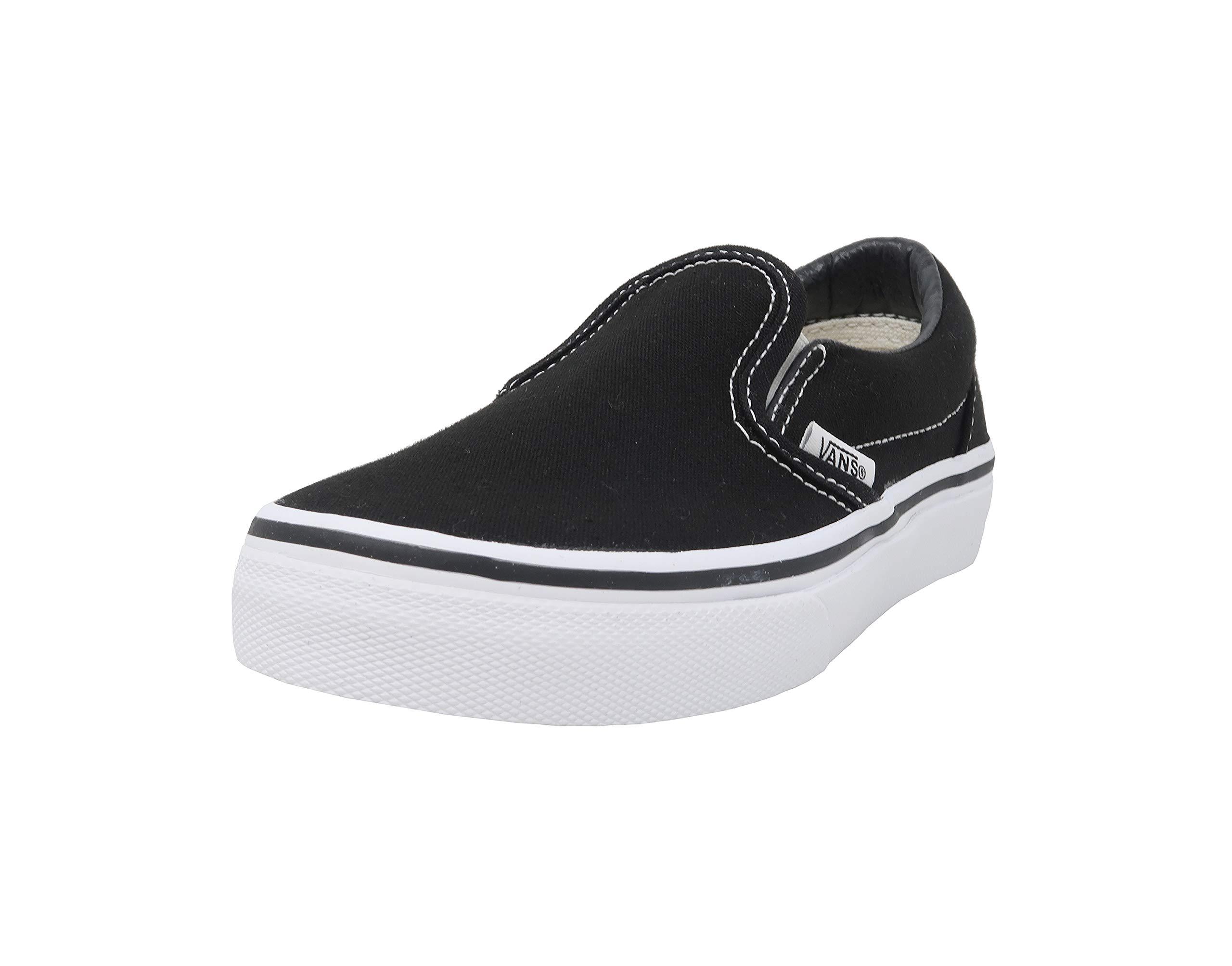 Vans Kids Classic Slip-On (Little Big Kid), Black/True White, 1 M