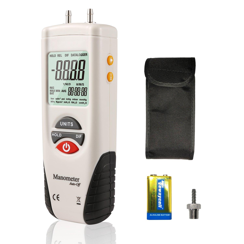 Hti-Xintai Digital Manometer, Dual Port Air Pressure Meter Pressure Gauge HVAC Gas Tester, Large LCD Display with Backlight(9V Battery Included)