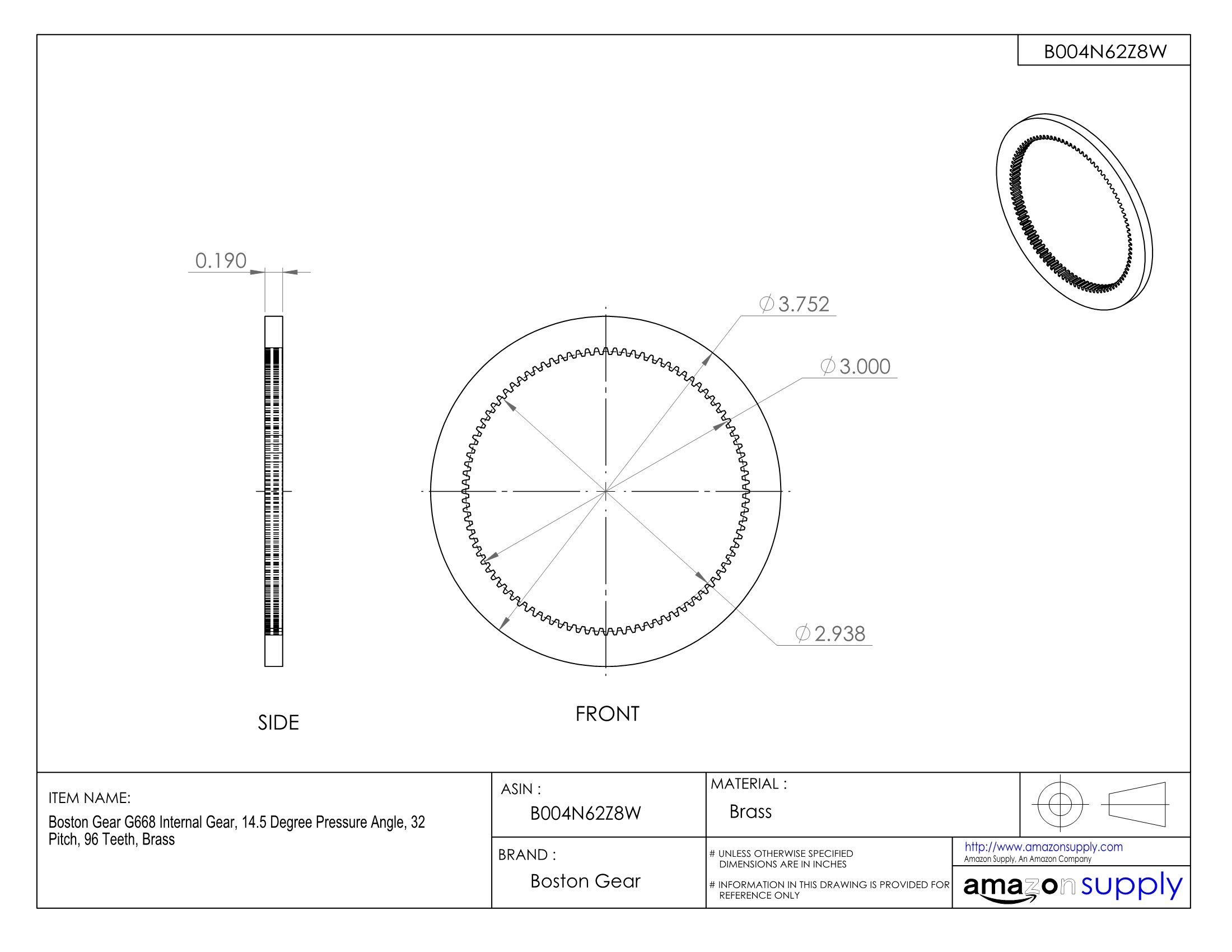 Boston Gear G668 Internal Gear, 14.5 Degree Pressure Angle, 32 Pitch, 96 Teeth, Brass by Boston Gear