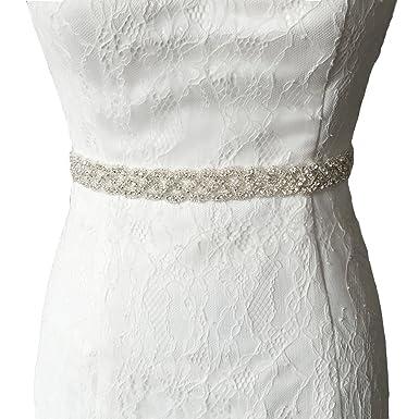 Tener cuidado de oferta especial encontrar mano de obra Vococal - Boda Vestido Faja Cintura Cinturón de Cinta de Raso Blanco Novia  Brillantes Diamantes de Imitación para Mujer