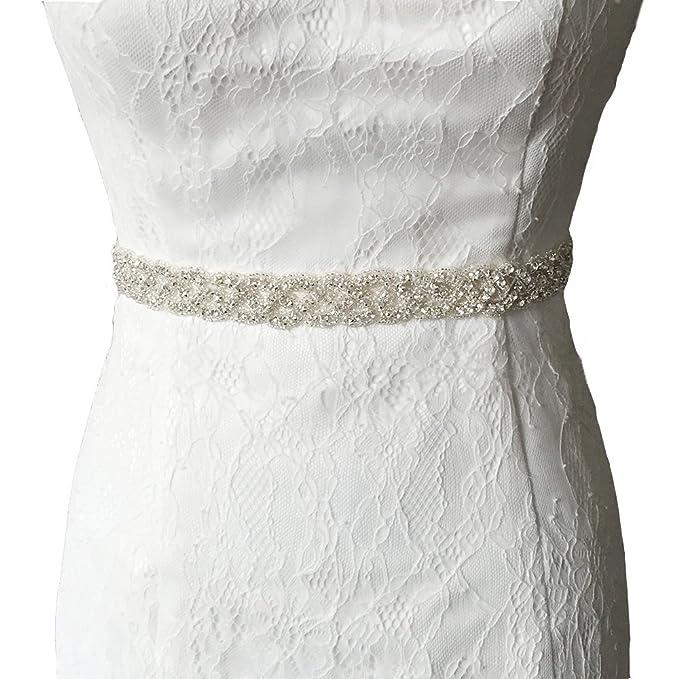 Vococal - Boda Vestido Faja Cintura Cinturón de Cinta de Raso Blanco Novia Brillantes Diamantes de