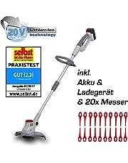 IKRA Akku Rasentrimmer IART 2520 LI inkl. Akku & Ladegerät 20 V Schnittkreis 25cm Nylonmesser für scharfen Schnitt