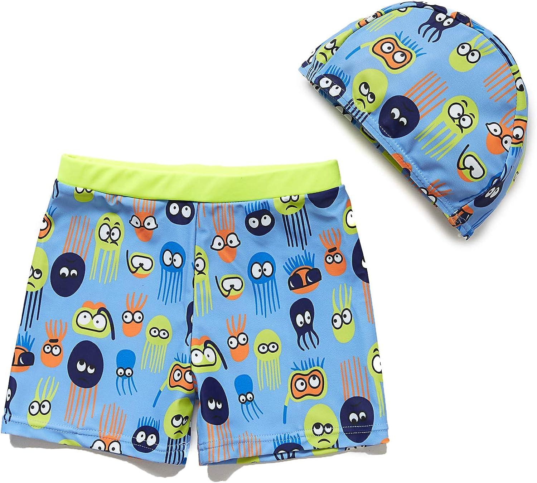 BONVERANO Baby//Toddler Boy Beach Swim Trunks Come with a Caps