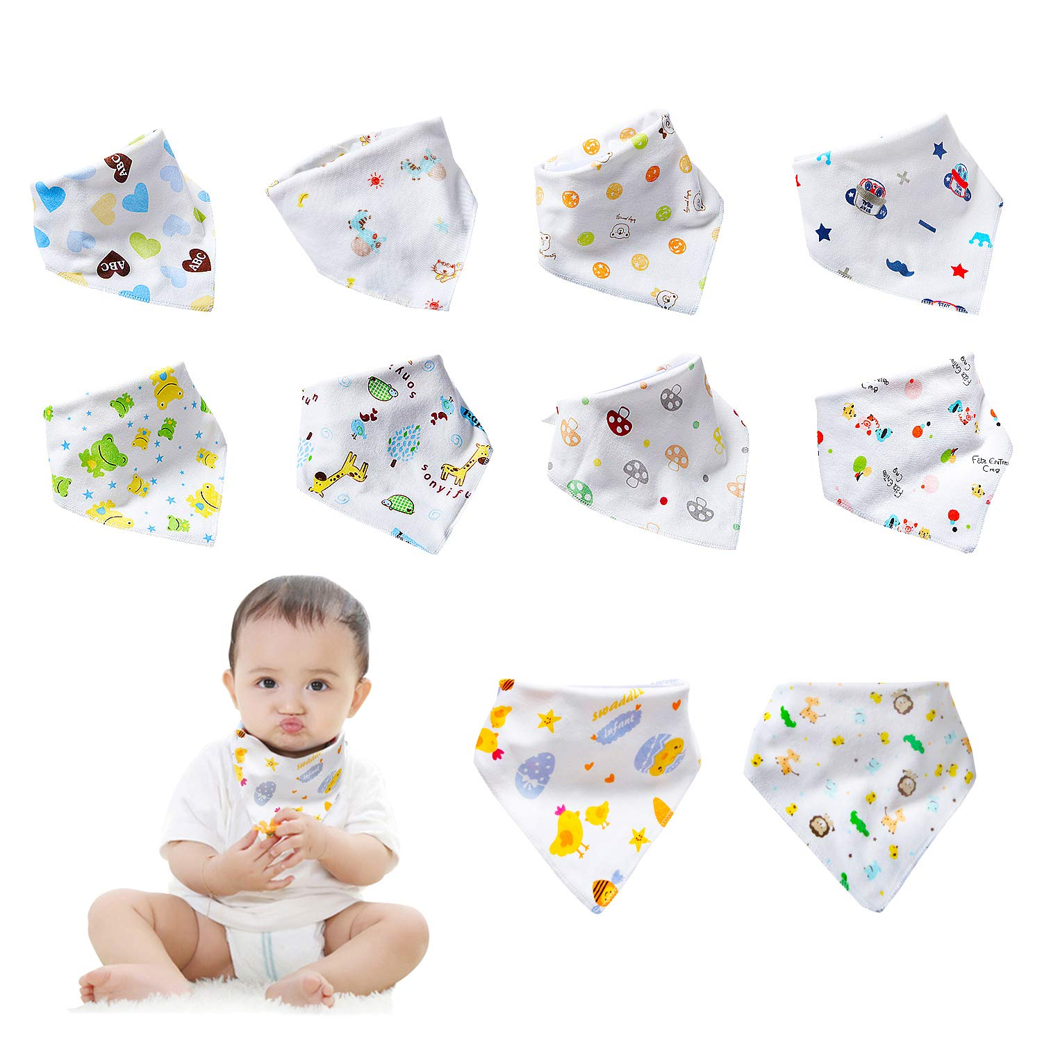 【Neutral B】labebe 10-Pack Bandana Bib, 100% Cotton Drool Bib with 2-Sided Printed for Unisex, Baby Bib Unisex/Toddler Bib/Newborn Bib/Drooling Bib/White Bib/Drool Bandana/Baby Bib Bandana/Birthday Bib