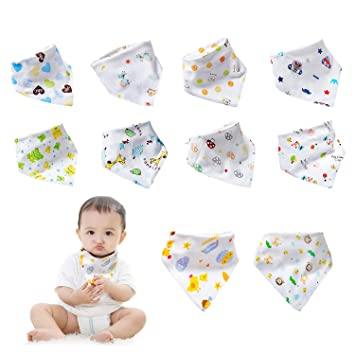 Newborn Baby Unisex Bandana Drool Funny Cartoon Bibs with Snaps Organic Absorbent Cotton Drooling for Toddlers Girls Boys