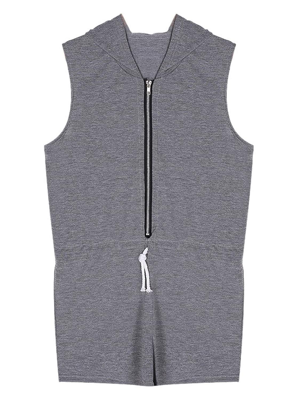 Persun Women Grey Zip Front Drawstring Waist Hooded Romper Playsuit