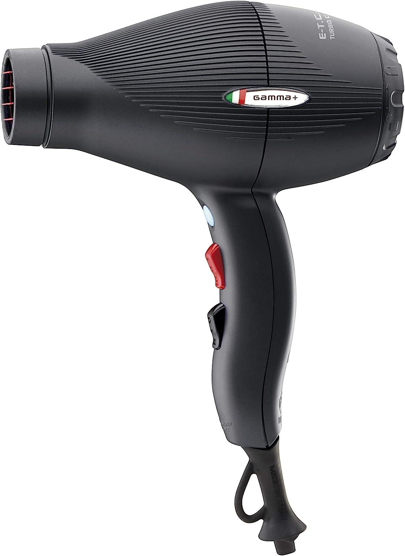 Gamma Piu ETC Light - Secador de pelo, color negro opaco