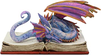 Rainbow Wyrm Dragon Ebros Amy Brown Bibliography Book Scholar Dragon Statue 5.5 Tall Fantasy Medieval Renaissance Magic Watercolor Collectible Decor Figurine