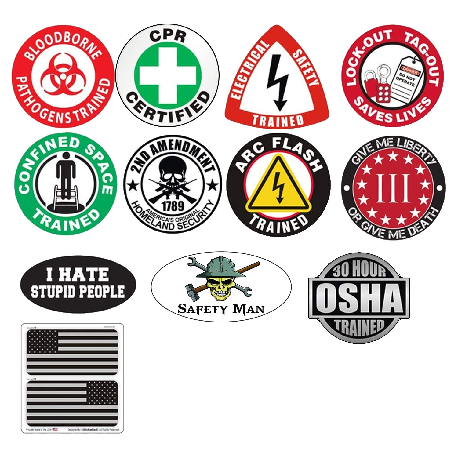 Helmet Sticker BUNDLE 21918 (12 Stickers Included) Full Color Printed by StickerDad - Hard Hat, Helmet, Windows, Walls, Bumpers, Laptop, Lockers, etc.