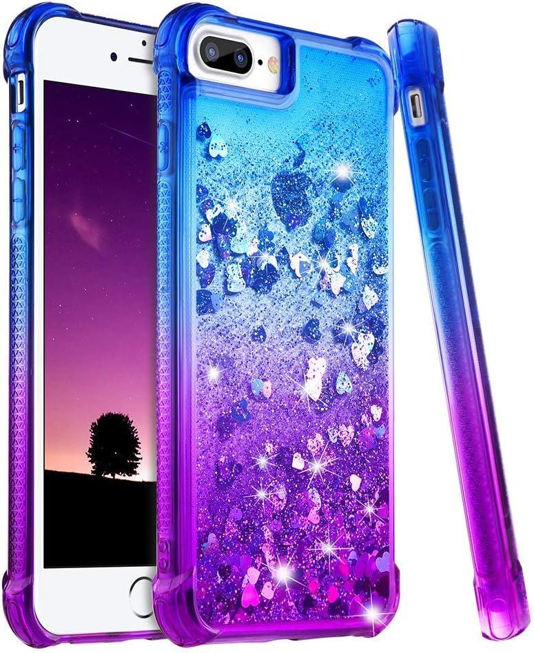 wlooo Funda para iPhone 8 Plus, Fundas iPhone 7 Plus, Glitter liquida Gradiente Silicona TPU Bumper Case Brillante Arena movediza Carcasa para iPhone 6 Plus/6s Plus/7 Plus/8 Plus (Blue Violet)