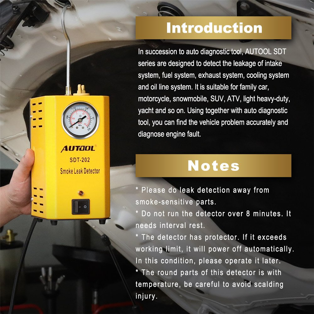 Amazon.com: Autool 12V Automotive EVAP Tester Detectors Cars Pipe Leak Detector SDT-202 Car PIPE Leakage Detector Tester For All Vehicles Leak Tester ...