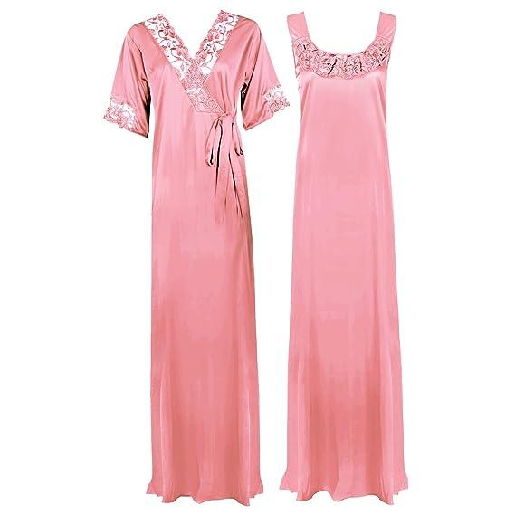 1886397ae7 The Orange Tags Ladies Plus Size Purple Long Nightdress Nightie Lounger  Nightwear Set  Amazon.co.uk  Clothing