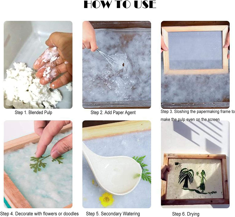 Milageto 2Pcs Wooden Paper Making Frame Screen Useful Handmade Kids DIY Arts Supply