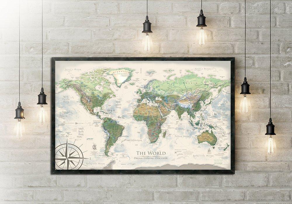 World Map Push Pin - The Nautilus World Map - Large Framed Map