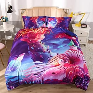 ENJOHOS Sea Life Bedding Twin for Kids Blue Ocean Corals Fishes Bed Set 3PCS 3D Digital Print Sealife 3-Piece Quilt Set for Teens Boys and Girls(Twin,3 PCS)