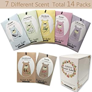LIFFLY 14 Packs Scented Sachets for Drawers and Closets Lavender, Rose, Jasmine, Ocean, Vanilla, Sandalwood, Gardenia 7 Scent