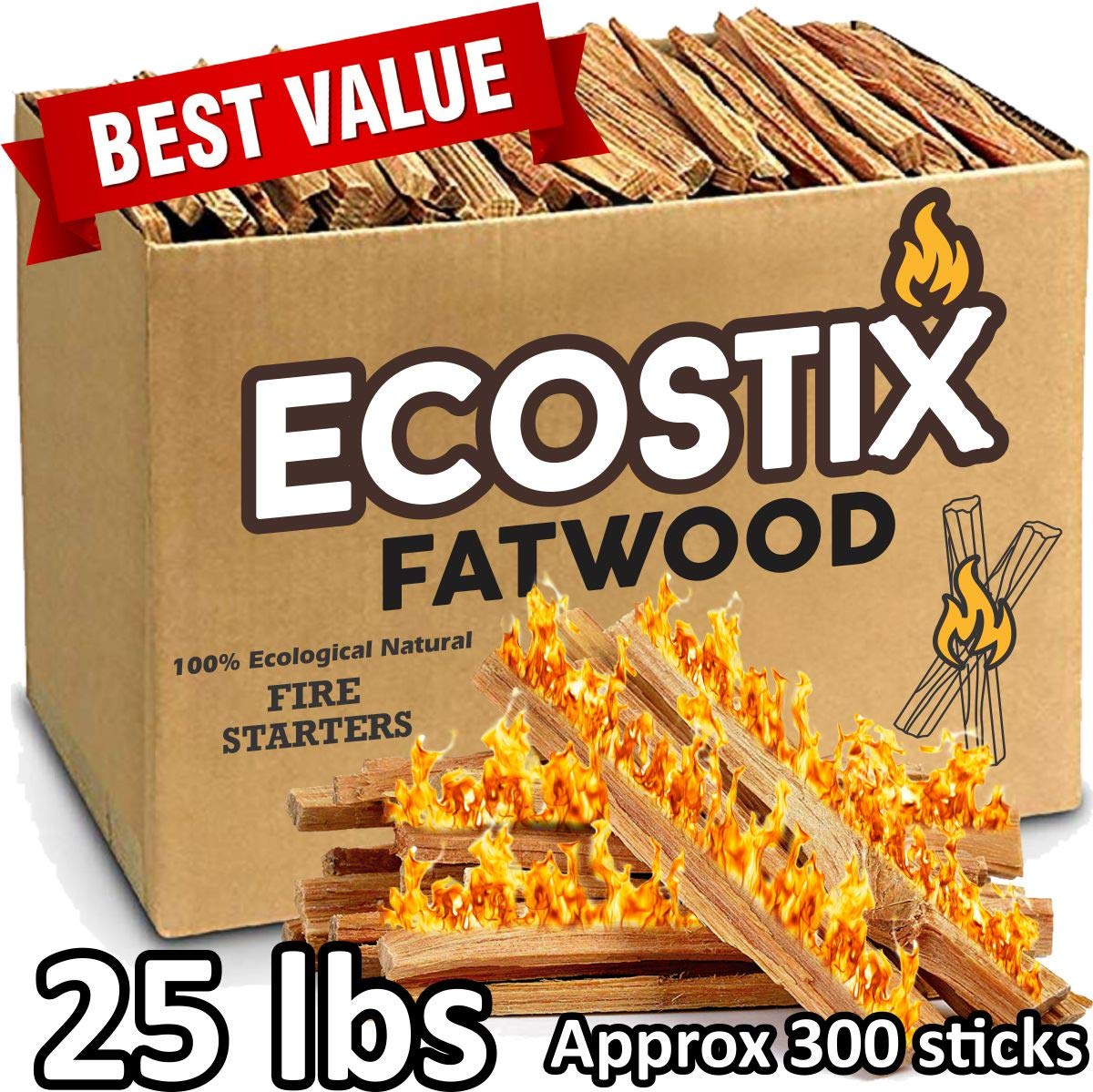 EasyGoProducts Approx. 300 Eco-Stix Fatwood Fire Starter Kindling Firewood Sticks Wood Stoves, 25 lbs by EasyGoProducts