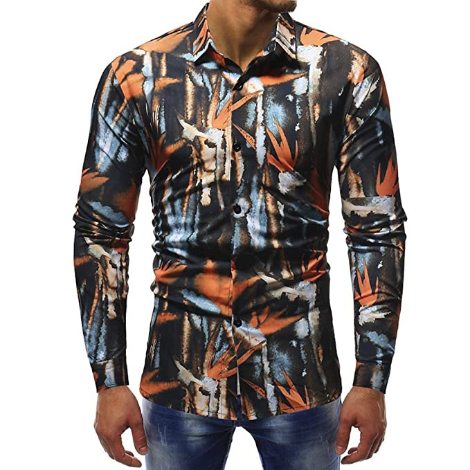 Camicia Floreale Hawaiana Uomo Maniche Lunghe LandFox Slim Fit Camicie  Casual da Uomo Manica Lunga Stampa Foglie Morte Miscela di Cotone Casual  Morbida da ... c8bfd9e2a29