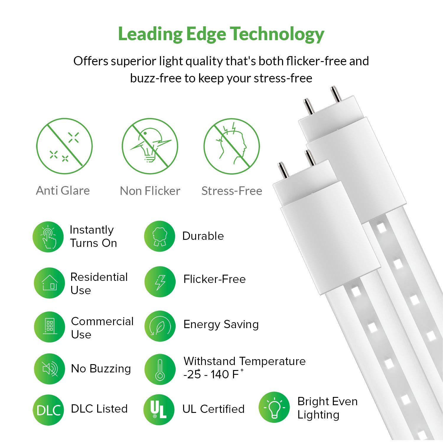 Sunco Lighting 10 Pack 4ft 48 Inch T8 Tube Led Light Bulbs 18 Watt Dual Lite Emergency Ballast Wiring Diagram 40 Equivalent Clear 5000k Kelvin Daylight 2200lm Bright White Single Sided