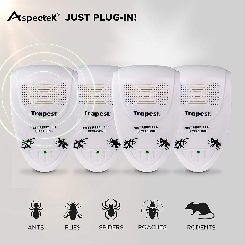 UK 3 Pin Cockroach Spiders 4Pack Ants Mice Fleas Roaches ASPECTEK Ultrasonic Pest Repeller- Electronic Pest Control Plug-in Pest Repeller Insect Repellent for Rodents Flies UK Plug