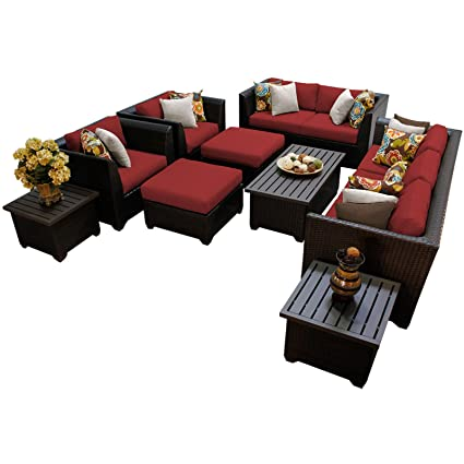 TK Classics 12 Piece Barbados 12D Outdoor Wicker Patio Furniture Set,  Terracotta