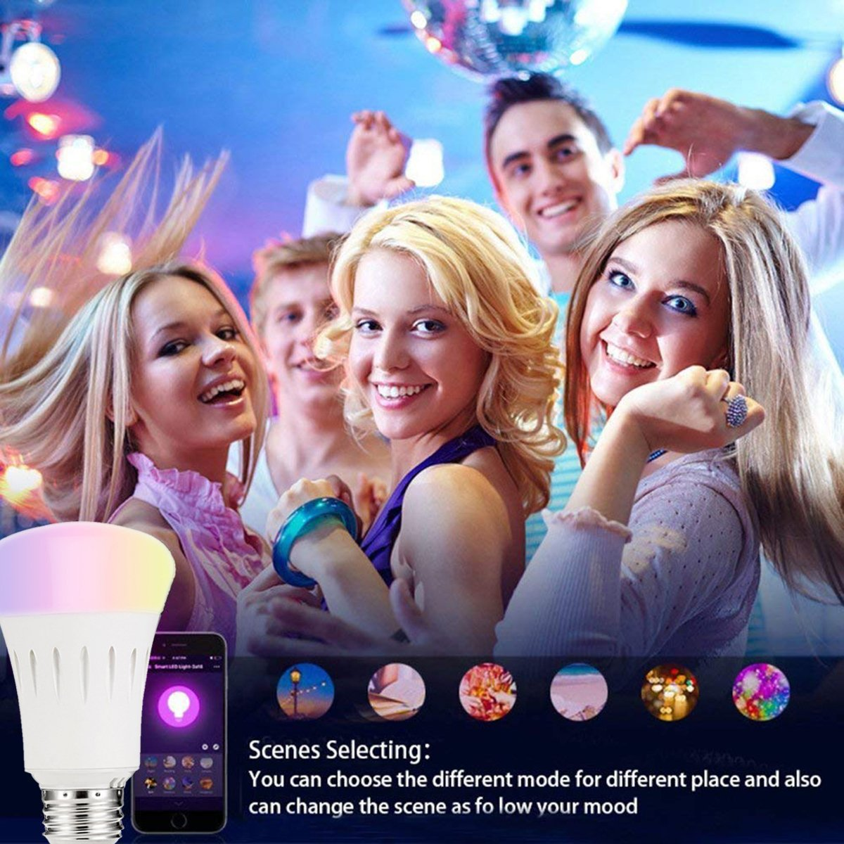 2Pack Smart Bulb Compatible with Alexa,Google Home,Wifi Smart Light Bulb,Dimmable,Timer Switch,Multicolored,No Hub Required,Remote Control,Scene Mode,Wake Up Lights Function by Buycitky (Image #6)