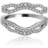 Uloveido 925 Sterling Silver Anniversary Ring Enhancer for Women and Girls Wedding Engagement Enhancer Ring White Gold…