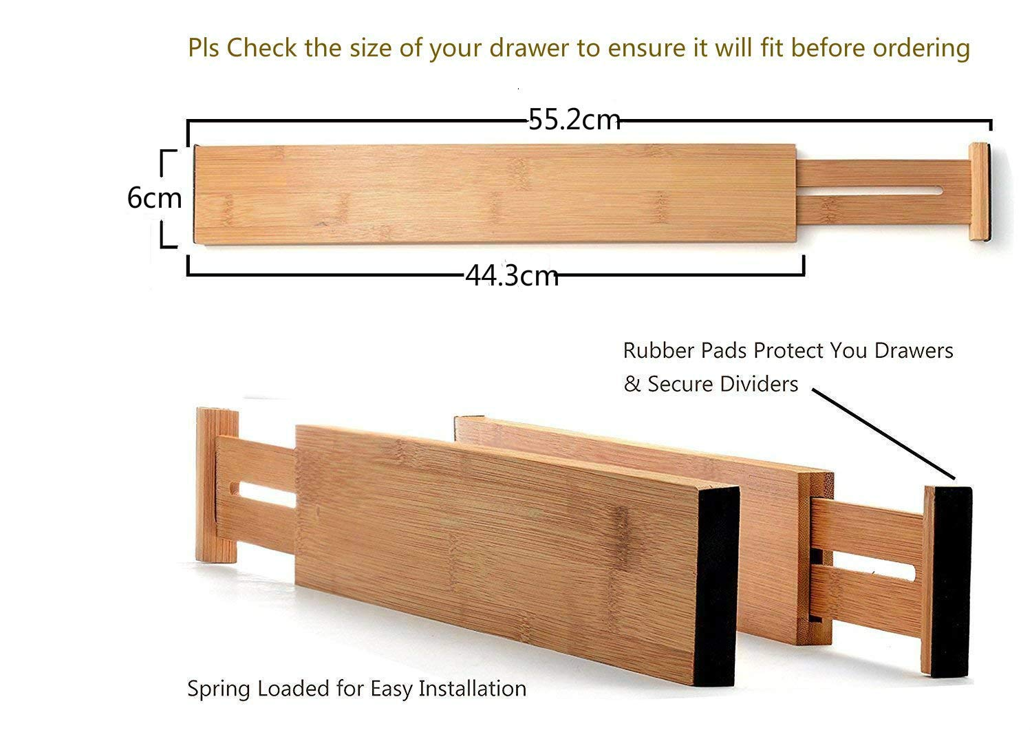 Bamboo Kitchen Drawer Organisers Expandable Drawer Divider Drawer Wooden Room Desk Drawer Organisers Compartment Drawer Organizer for Kitchen Office or Chest of Drawers Bathroom Baby Bedroom