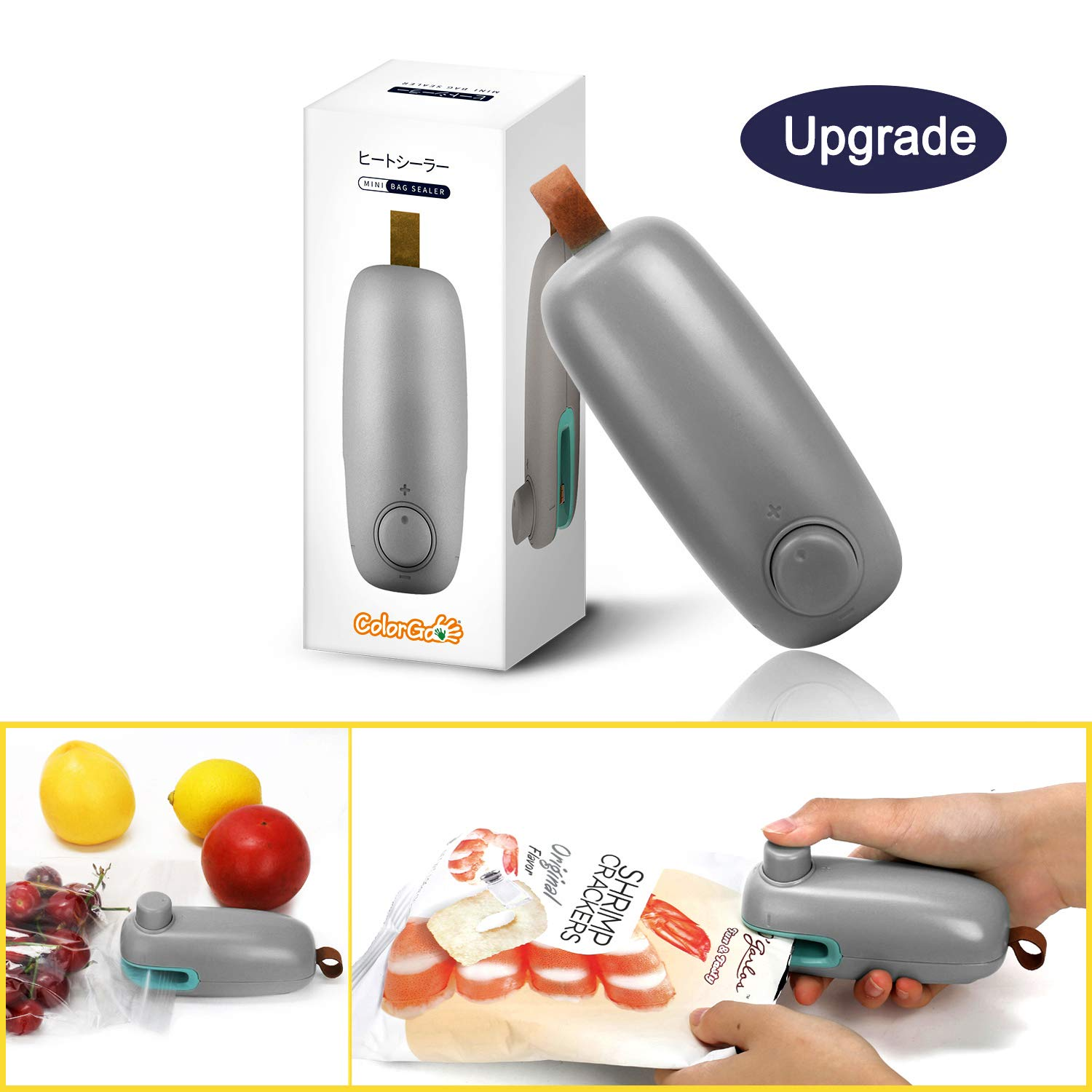 ColorGo Potato Chip Bag Sealer, Handheld Mini Heat Resealer Machine For Plastic Food Storage Gray [Upgrade Version & Patent Protect] by ColorGo