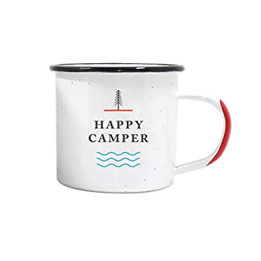 Happy Camper Enamel Camping Mug - White, 12 Ounce (350 ml), Eco-Friendly Camp Mugs Perfect For Hot Morning Coffee Or Cool Campfire Whiskey. (Two Unique Styles To Choose From. By Journo Travel Gear.) …